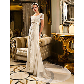 Lanting Bride Sheath / Column Petite / Plus Sizes Wedding Dress - Classic Timeless / Glamorous Dramatic Vintage Inspired / Lacy Looks plus size,  plus size fashion plus size appare