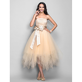 TS Couture Cocktail Party / Homecoming / Holiday Dress - 1950s Plus Size / Petite A-line Strapless Tea-length Tulle with Draping / Sash / Ribbon plus size,  plus size fashion plus size appare