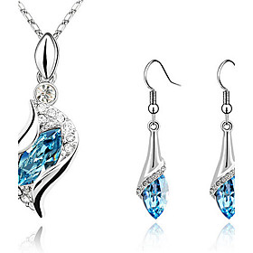 Women's Crystal S Shaped Jewelry Set - Crystal, Cubic Zirconia, Rhinestone Drop Fashion, Elegant Include Drop Earrings Pendant Necklace Earrings Green / Light