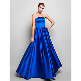 A-Line Strapless Floor Length Satin Prom / Formal Evening / Military Ball Dress with Pleats by TS Couture plus size,  plus size fashion plus size appare