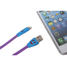 1M Smiling Flowing Current Charger Apple 8 Pin Cable with LED for iPhone 6 iPhone 6 Plus iPhone 5/5s/5c iPad Mini iPad 4