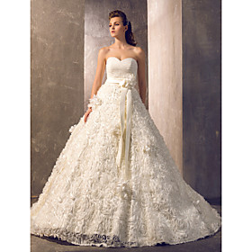 A-Line Strapless Court Train Tulle Floral Lace Custom Wedding Dresses with Sashes / Ribbons by LAN TING BRIDE plus size,  plus size fashion plus size appare