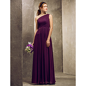 Sheath / Column One Shoulder Floor Length Chiffon Bridesmaid Dress with Side Draping by LAN TING BRIDE plus size,  plus size fashion plus size appare
