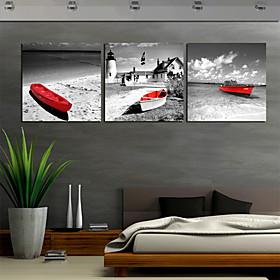 L?rredstryk På Blindramme Art Transport Red Boat Set Of 3