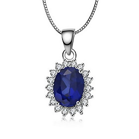 1.5 Carat Sapphire Pendant For Women Fine Silver White Gold Plated