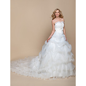 A-line Wedding Dress - Elegant Luxurious / Glamorous Dramatic Vintage Inspired Cathedral Train Strapless Organza withBow / Sequin / plus size,  plus size fashion plus size appare