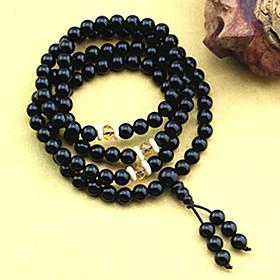 DFMY Kvinders diameter 6mm Black Agate Hand Chain (72cm)