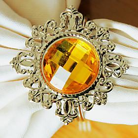 Diamond Wedding Napkin Ring Set of 12, Metal Crystal Dia 4.5cm