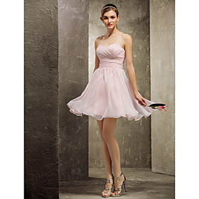 A-Line Sweetheart Short / Mini Chiffon Bridesmaid Dress with Ruched Criss Cross by LAN TING BRIDE plus size,  plus size fashion plus size appare