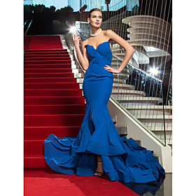 TS Couture Formal Evening Military Ball Dress - Vintage Inspired Celebrity Style Trumpet / Mermaid Strapless Sweep / Brush Train Chiffon plus size,  plus size fashion plus size appare