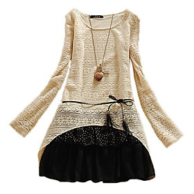 Casual Big Size Long Sleeve Lace Dress Women Dress