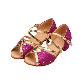 Non Customizable Women's/Kids' Dance Shoes Latin/Ballroom Sparkling Glitter Low Heel Blue/Red/Silver/Gold/Fuchsia/Other