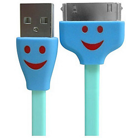 1m/3.28ft Smiling Face LED USB to Dock Connector Sync Charger Data Flat Cable for Apple iPhone 4G 4S
