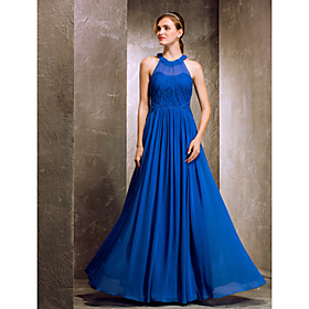 TS Couture Floor-length Jewel Bridesmaid Dress - Elegant Sleeveless Crepe plus size,  plus size fashion plus size appare