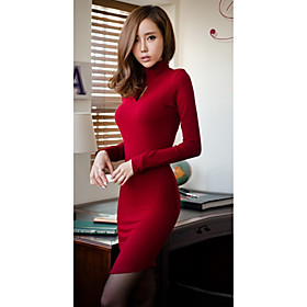 H?y Neck Long Sleeve Women Dress