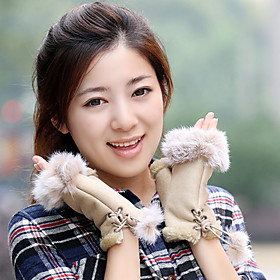 Wrist Length Half Finger Glove Feather/ Fur General Purposes  Work Gloves Winter