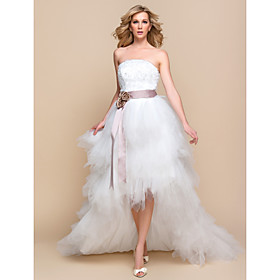 A-line / Princess Wedding Dress - Chic Modern / Glamorous Dramatic Little White Dresses / Vintage Inspired Asymmetrical Strapless plus size,  plus size fashion plus size appare
