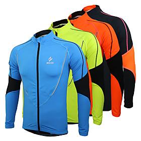 Arsuxeo Men's Cycling Jersey Cycling Jacket Bike Jersey Top Thermal / Warm Fleece Lining Breathable Sports Polyester Fleece Winter Orange / Green / Blue Mounta