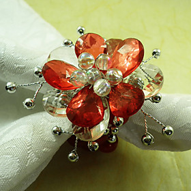 Country Flower Acrylic Beads Napkin Ring, Dia4.2-4.5cm Set of 12