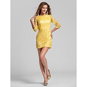Sheath / Column Jewel Neck Short / Mini Lace Bridesmaid Dress with Lace Pleats by LAN TING BRIDE plus size,  plus size fashion plus size appare