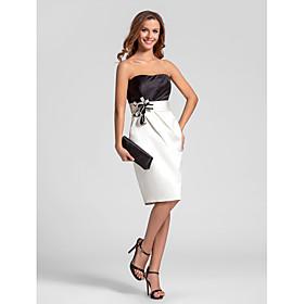 LAN TING BRIDE Knee-length Strapless Bridesmaid Dress - Color Block Sleeveless Satin plus size,  plus size fashion plus size appare