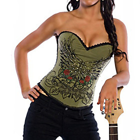 Army Green Printed Pattern Punk Lolita Corset