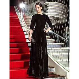 TS Couture Formal Evening Military Ball Dress - Vintage Inspired Celebrity Style A-line Jewel Floor-length Velvet with Side Draping plus size,  plus size fashion plus size appare
