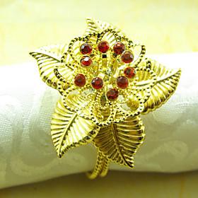 Sun Flower Wedding Napkin Ring Set of 6, Metal Crystal Dia 4.5cm