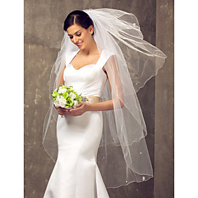 Four-tier Fingertip Wedding Veil With Pencil Edge