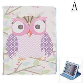 Stilfuld Owl M?nster Beskyttende Pu Leather Case Cover Holder Til Ipad 2/3/4