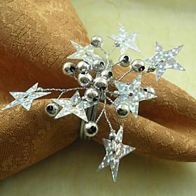 Stars Wedding Napkin Ring Set of 6, Pearl Dia 4.5cm