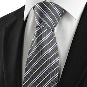 Striped Black Formal Mens Tie Necktie for Wedding Holiday Gift $6.59 AT vintagedancer.com