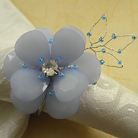 Lavender Floral Acrylic Beads Napkin Ring, Dia4.2-4.5cm Set of 12