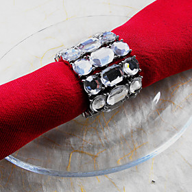 Metal Crystal Wedding Napkin Ring Set Of 6, Dia 4.5cm