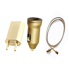 3-in-1 Lighting Cable/USB Car Charger/EU Standard Charger for iPhone 5/5C/5S