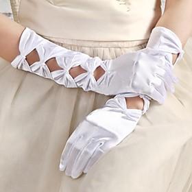 Elbow Length Glove Satin Bridal Gloves Beading
