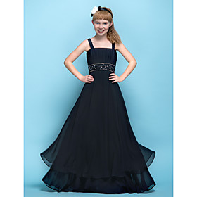 A-Line Straps Floor Length Chiffon Junior Bridesmaid Dress with Beading Appliques Ruching Criss Cross by LAN TING BRIDE