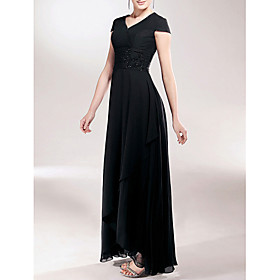Sheath / Column V-neck Asymmetrical Chiffon Mother of the Bride Dress with Beading Appliques Ruching by LAN TING BRIDE plus size,  plus size fashion plus size appare