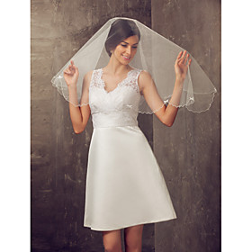 One-tier Elbow Wedding Veil With Pencil Edge