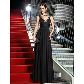 A-Line V-neck Floor Length Jersey Homecoming Prom Formal Evening Military Ball Dress with Side Draping by TS Couture plus size,  plus size fashion plus size appare