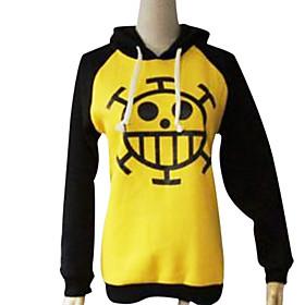 Inspired by One Piece Trafalgar Law Anime Cosplay Costumes Cosplay Hoodies Print Black / Yellow Long Sleeve Coat