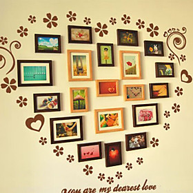 Classic Brown Photo Wall Frame Collection - Set of 20 Random Color