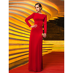 TS Couture Formal Evening Military Ball Dress - Vintage Inspired Celebrity Style Sheath / Column Jewel Floor-length Jersey with Pleats plus size,  plus size fashion plus size appare