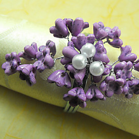 Plum Wedding Napkin Ring Set Of 6, Acrylic Dia 4.5cm
