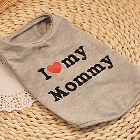 Cat Dog Shirt / T-Shirt Gray Dog Clothes Summer Spring/Fall Hearts Cute Casual/Daily Birthday
