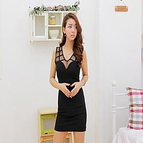 Collier New Girl Femmes rond sans manche épissure net Fils réservoir robe noire