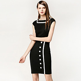 TS Vintage Kontrast Single-breasted Kappe Dress