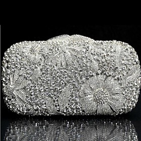 Silver H?ndlavede HK Crystal Evening Clutch Purse Cocktail Bag (1097216) photo