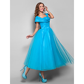Ball Gown Straps Tea-length Tulle and Stretch Satin EveningProm Dress 699375 $100.09 AT vintagedancer.com