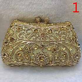 Gold Crystal Minaudiere Box Evening Purse Shoulder Bag veske (1094999) photo